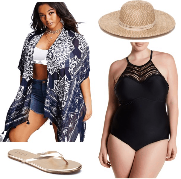 plus size kimono jacket plus size black swimsuit beach hat gold flip flops