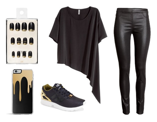 Black and gold asymmetric outfit
