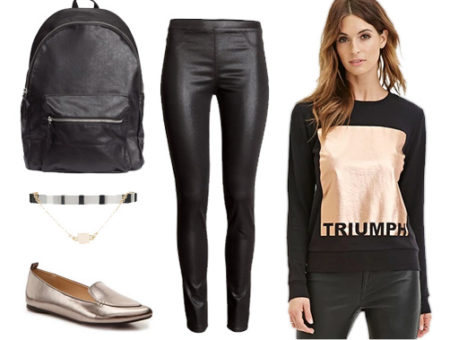 Black outfit with metallic accents