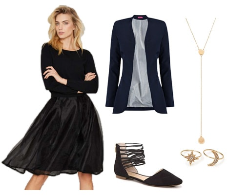 Sweater dress with gold star accessories