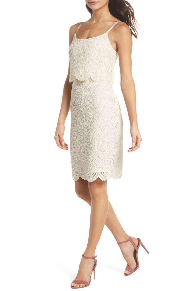 Tiered white lace dress with spaghetti straps