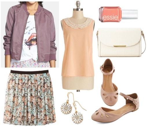 Nordstrom bomber jacket, peach blouse, floral skirt, flats