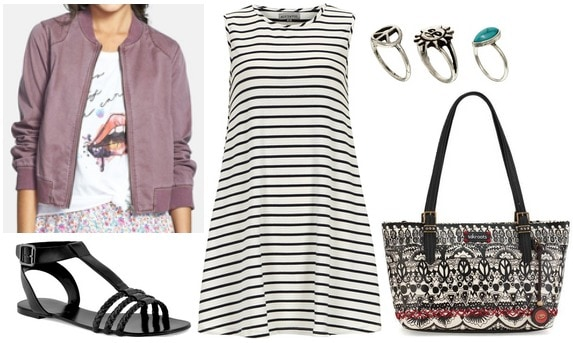 Nordstrom bomber jacket, stripe dress, sandals, printed tote
