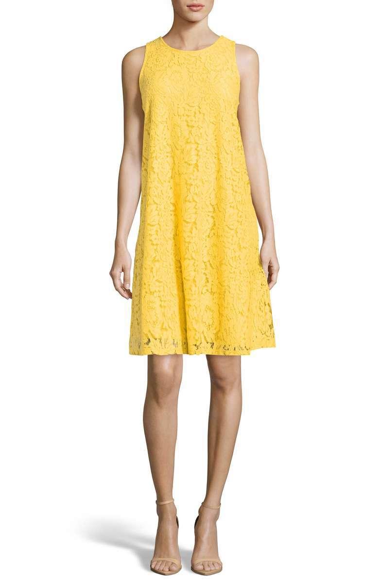 Sleeveless yellow lace shift dress