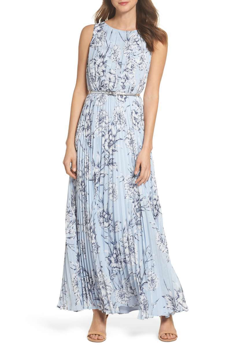 Pale blue sleeveless pleated dress with floral print and metallic silver skinny belt