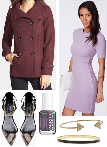 Nordstrom peacoat, lavender dress, snake print shoes