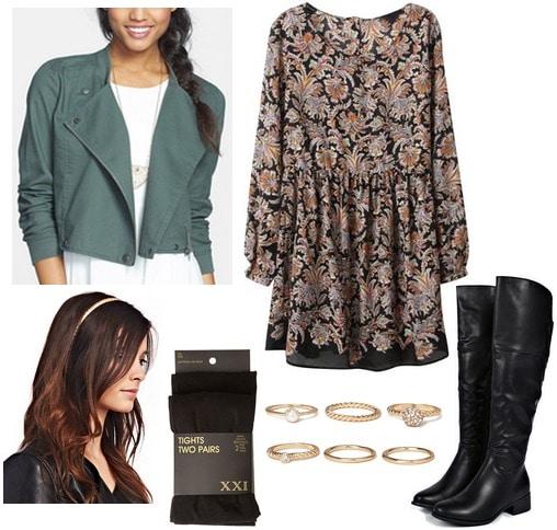 Nordstrom rack jacket, dark floral print dress, riding boots