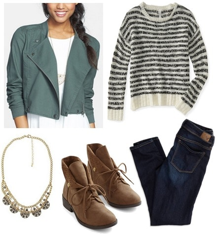 Nordstrom rack jacket, striped sweater, jeans, boots