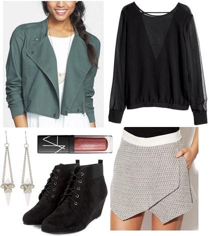 Nordstrom rack jacket, tweed skirt, black blouse, wedge booties