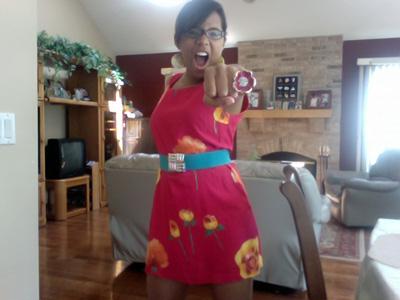 Northwestern University fashionista in a brightly colored dress