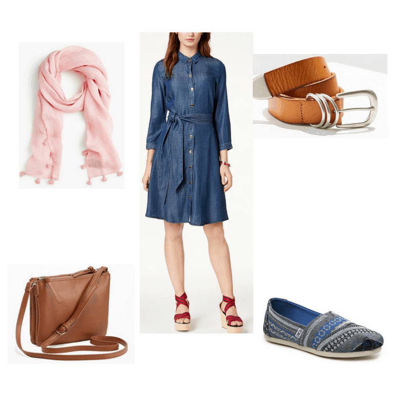 Outfit with chambray shirtdress, brown belt, pink scarf, brown crossbody bag, and printed TOMS