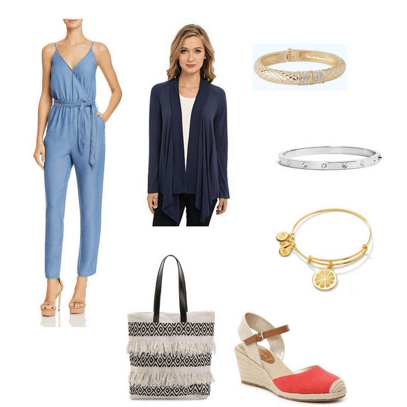Outfit with jumpsuit, cardigan, espadrille wedges, fringe tote, lemon bangle, silver studded bangle, and gold textured bangle