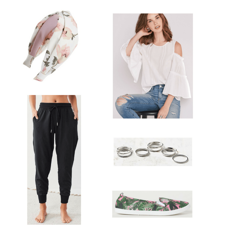 Outfit with white cold-shoulder top, black joggers, printed slip-ons, floral headband, and silver rings