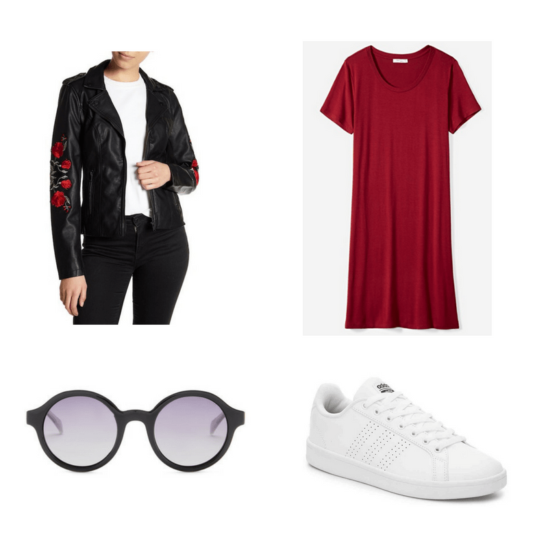 Outfit with embroidered leather jacket, red t-shirt dress, white sneakers, and round sunglasses