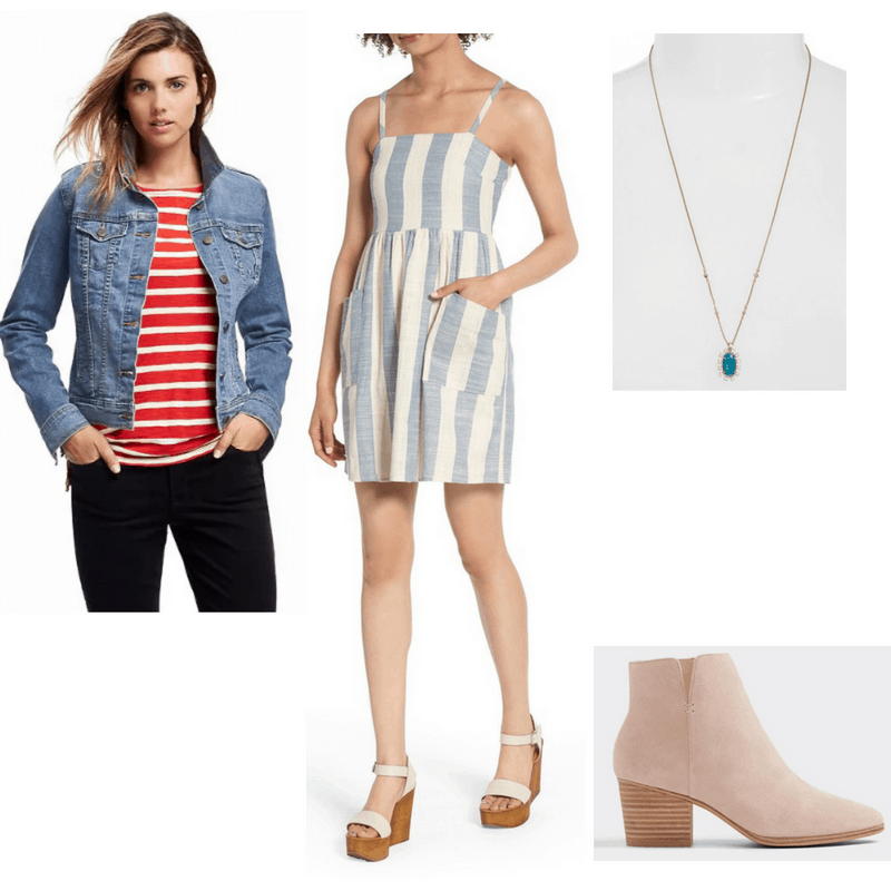 Outfit with denim jacket, striped sundress, ankle boots, and blue pendant necklace