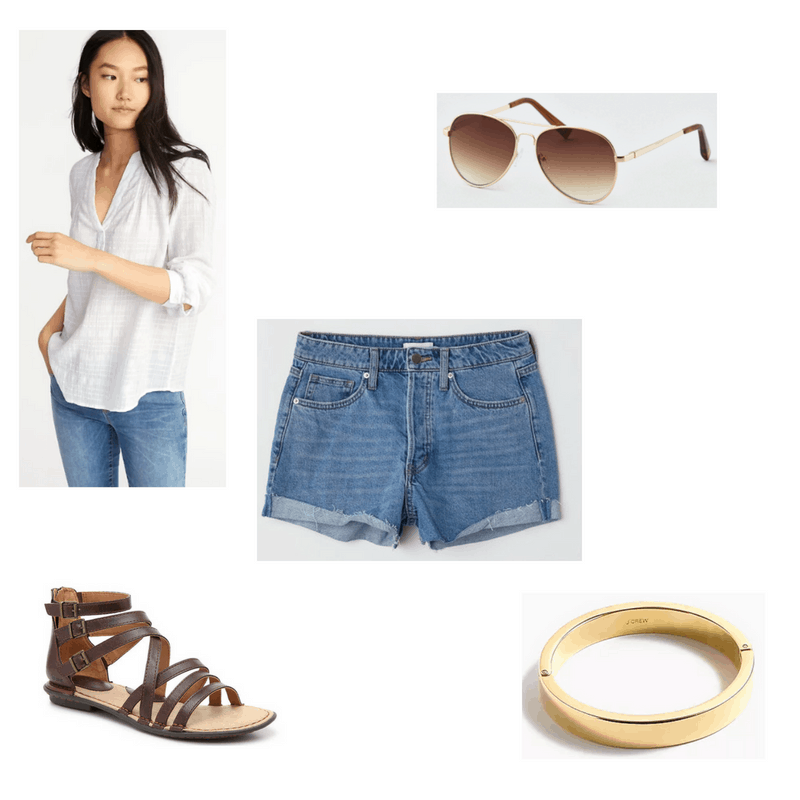 Outfit with white shirt, denim shorts, gladiator sandals, aviator sunglasses, and gold bangle