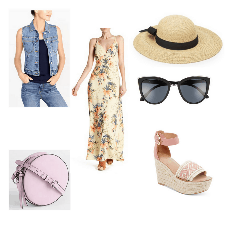 Outfit with maxi dress, denim vest, wedge sandals, sun hat, cat-eye sunglasses, and circle purse