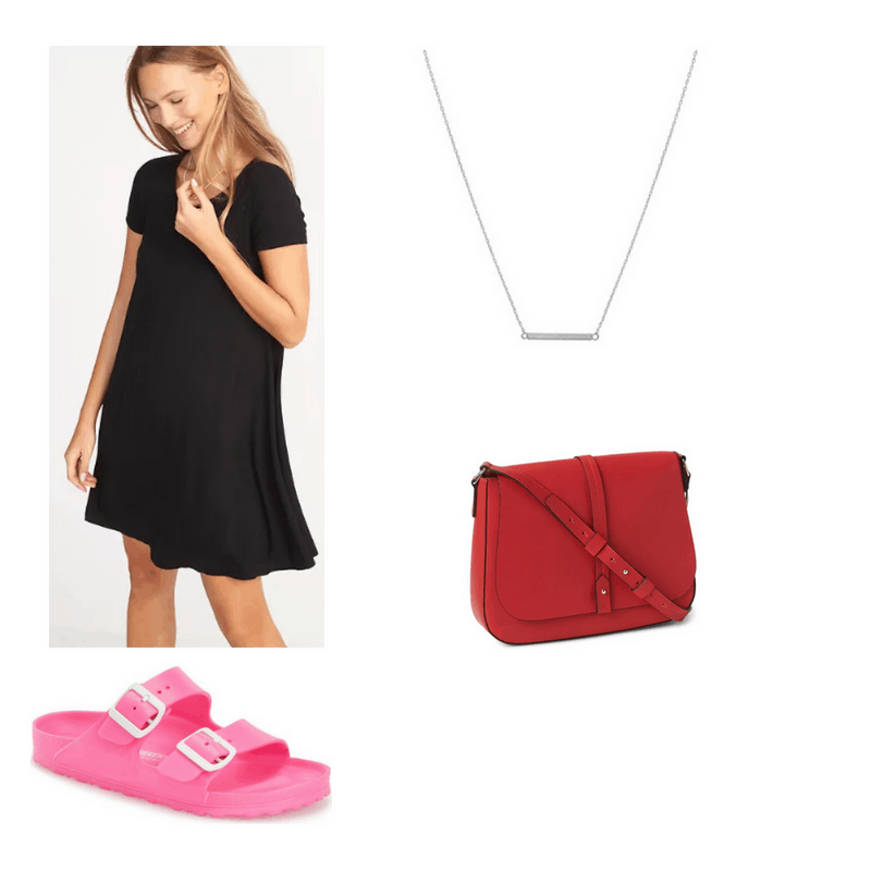 Outfit with black t-shirt dress, pink Birkenstocks, silver bar necklace, and red crossbody bag