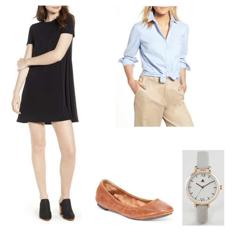 Outfit with black dress, oxford shirt, brown flats, and grey watch