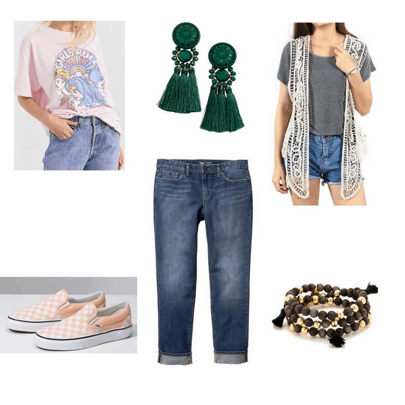 Outfit with graphic tee, crochet vest, boyfriend jeans, checkered Vans, tassel wrap bracelet, and green tassel earrings