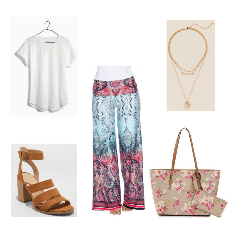 Outfit with white tee, printed palazzo pants, layered gold necklaces, brown sandals, and floral tote