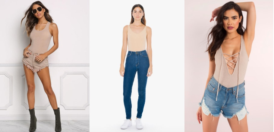 Nude Bodysuit Trend (left-to-right): a basic cotton tank top style bodysuit from Love Culture, a simple bodysuit from American Apparel, and a plunging lace-up ribbed bodysuit from Tobi.