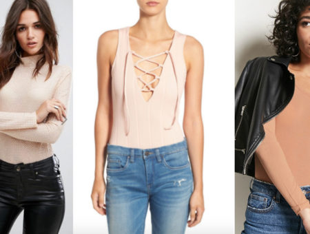 Nude bodysuit trend (left-to-right): a long sleeve mock turtleneck sequin bodysuit from ASOS, a deep V-neck laceup tank top style bodysuit from Nordstrom Rack, and a long sleeve crew neck bodysuit from Forever 21 shown with a motorcycle jacket.