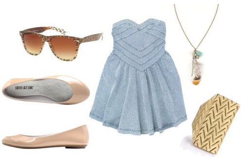 Outfit idea: How to wear beige/nude flats with a chambray dress