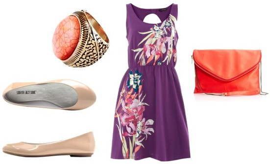 Outfit idea: How to wear beige/nude flats with a purple dress