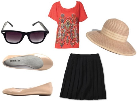 Outfit idea: How to wear beige/nude flats with a printed t-shirt and black skirt