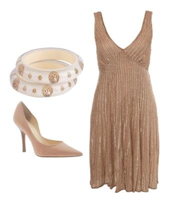 Beaded nude formal dress