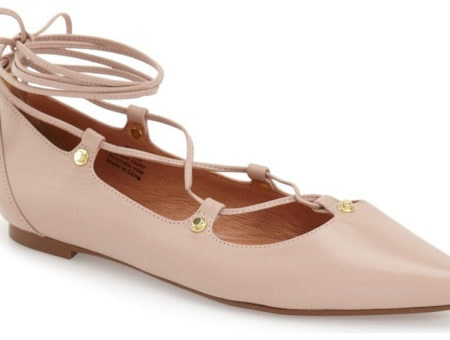 Nude lace up pointed toe flats