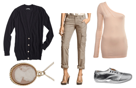 Outfit with nude tones