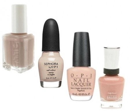 Nude nail polish - Essie Jazz, Sephora by OPI Going Nude Eh, OPI Bubble Bath, and Sally Hansen Nude Now