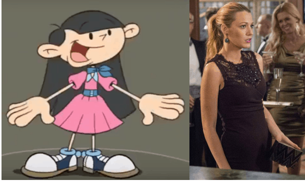 Numbuh 3 wearing a pink dress and Serena Van Der Woodsen wearing a black dress