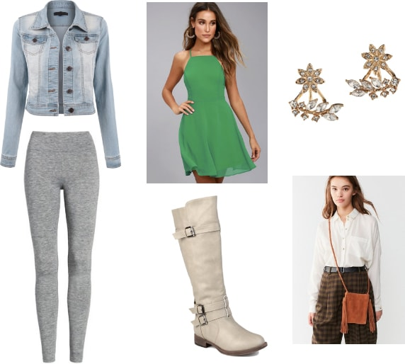 Numbuh 3 x Serena Van Der Woodsen outfit with gray leggings, green dress, denim jacket, floral earrings, knee-high boots, and a fringe crossbody bag