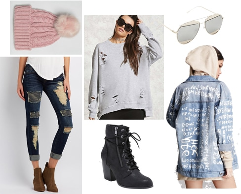 Outfit inspired by street style at NYFW: Distressed sweatshirt, ripped jeans, denim jacket, lace-up booties, knit hat