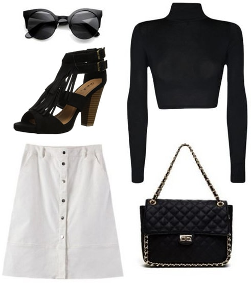 NYFW street style inspiration: White skirt, black cropped turtleneck, fringe shoes, chain strap bag
