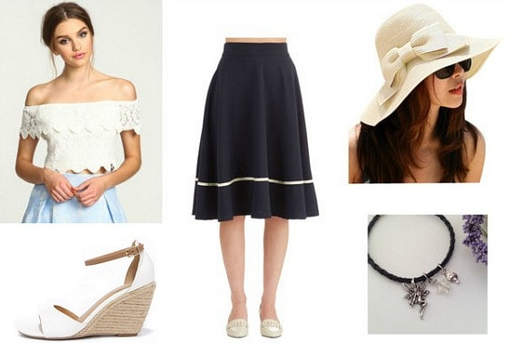 Outfit inspired by Ella Enchanted - skirt, off-shoulder top, sandals, hat, necklace