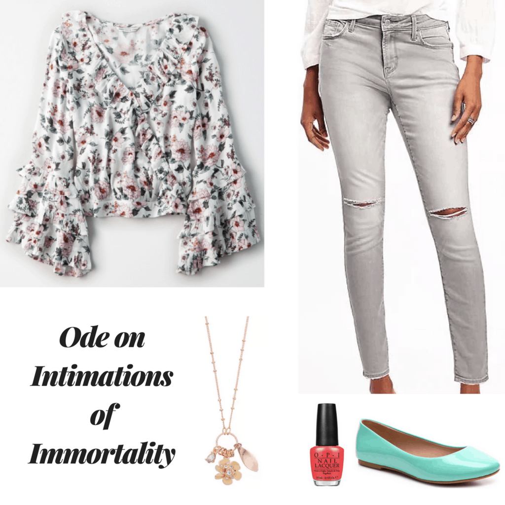 William Wordsworth outfit poetry inspired outfit ode on intimations of immortality outfit floral wrap top gray distressed skinny jeans teal flats coral nail polish gold coral necklace