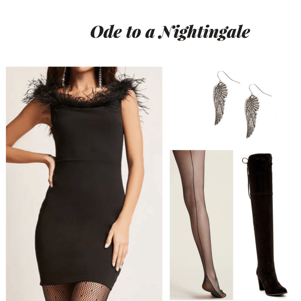 john keats outfit outfit inspired by poetry ode to a nightingale outfit feather black dress wing earrings pin up tights black over-the-knee boots