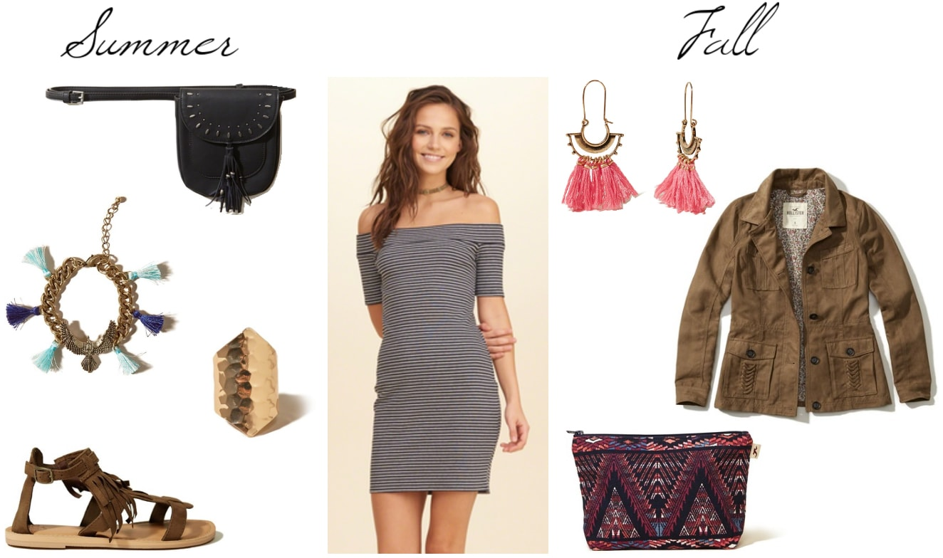 How to wear an off the shoulder dress in summer and in fall