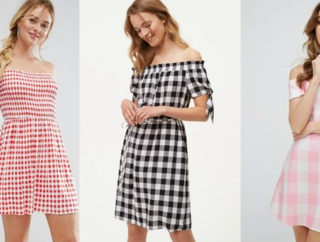 Off shoulder gingham dresses in red, black, and pink