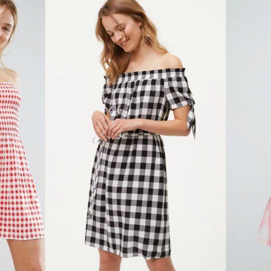 Off shoulder gingham dresses in red, black, and pink