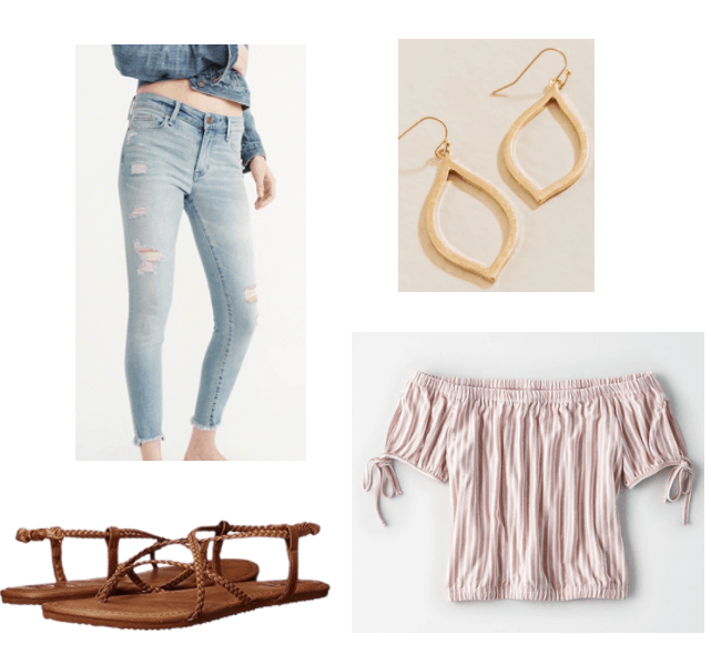 ripped jeans, brown sandals, golden earrings, pink off shoulder top