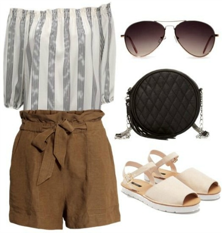 off the shoulder blouse, shorts, circle bag