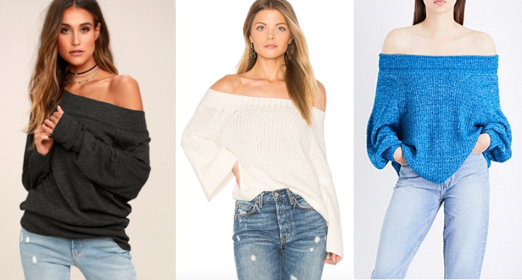 From left to right: a slouchy dark grey off-the-shoulder Free People sweater from Lulu's, a white off-the-shoulder sweater with flared sleeves from Revolve, and a bright cobalt blue off-the-shoulder sweater with baggy sleeves from Selfridges.