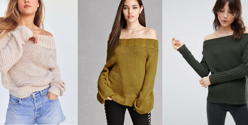 From left to right: a creamy waffle knit off-the-shoulder sweater from Urban Outfitters, a mustard off-the-shoulder sweater from Forever 21, and a forest green off-the shoulder sweater from ASOS.