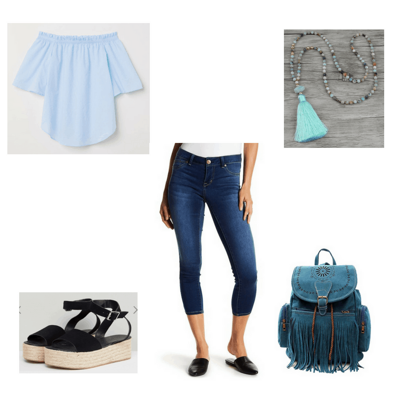 Outfit with blue off-the-shoulder top, cropped jeans, espadrille flatform sandals, blue tassel necklace, and fringe backpack