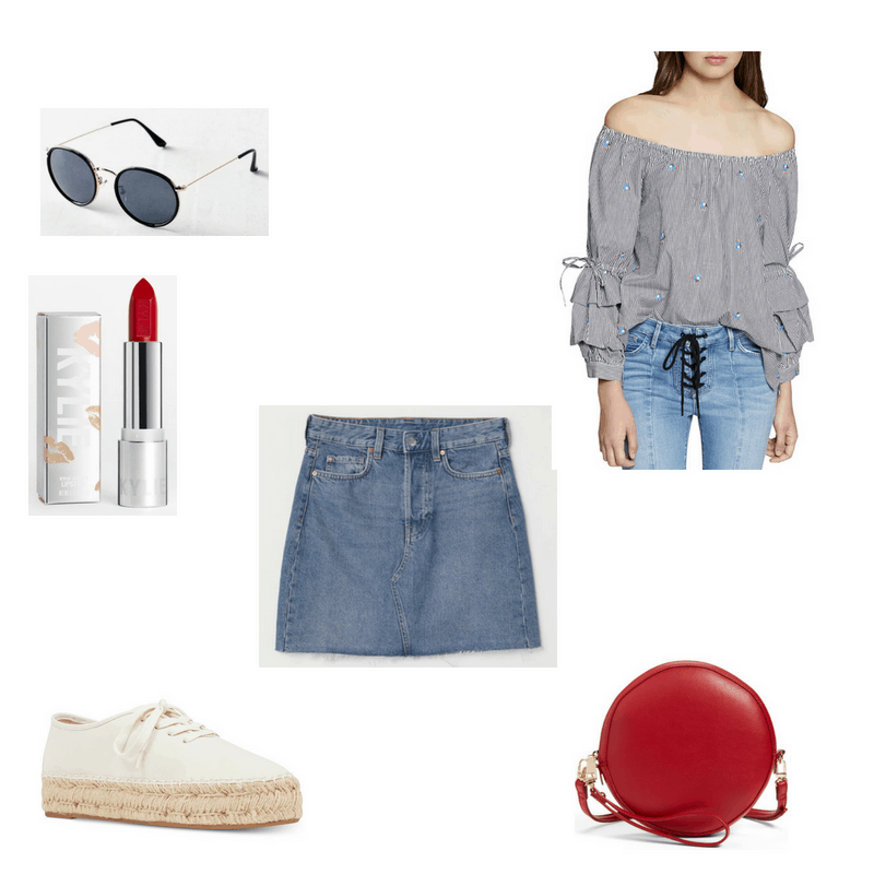 Outfit with off-the-shoulder ruffle top, denim skirt, round sunglasses, espadrille sneakers, red circle crossbody, and red lipstick